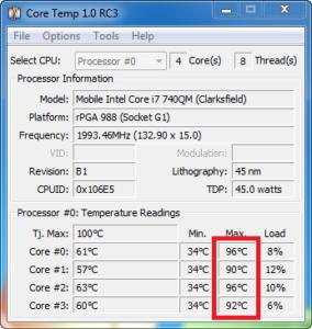 Kontrola chlazení notebooku